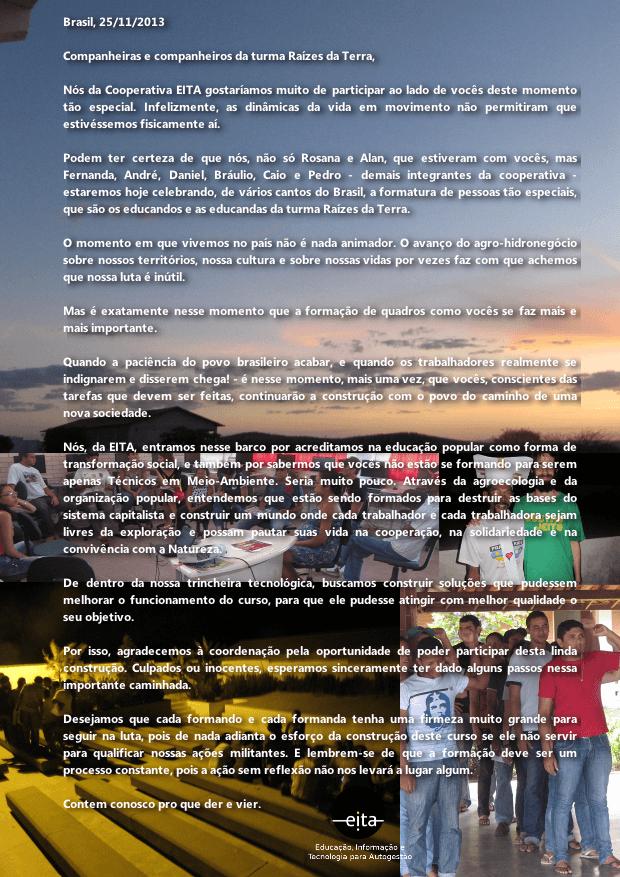 Mensagem aos formandos e formandas da Turma Raízes da Terra