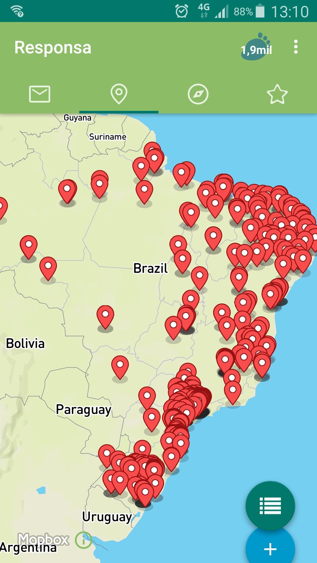 mapa com todos os locais onde vende organicos